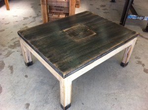 Coffee Table with French Wine Box Label Inlay