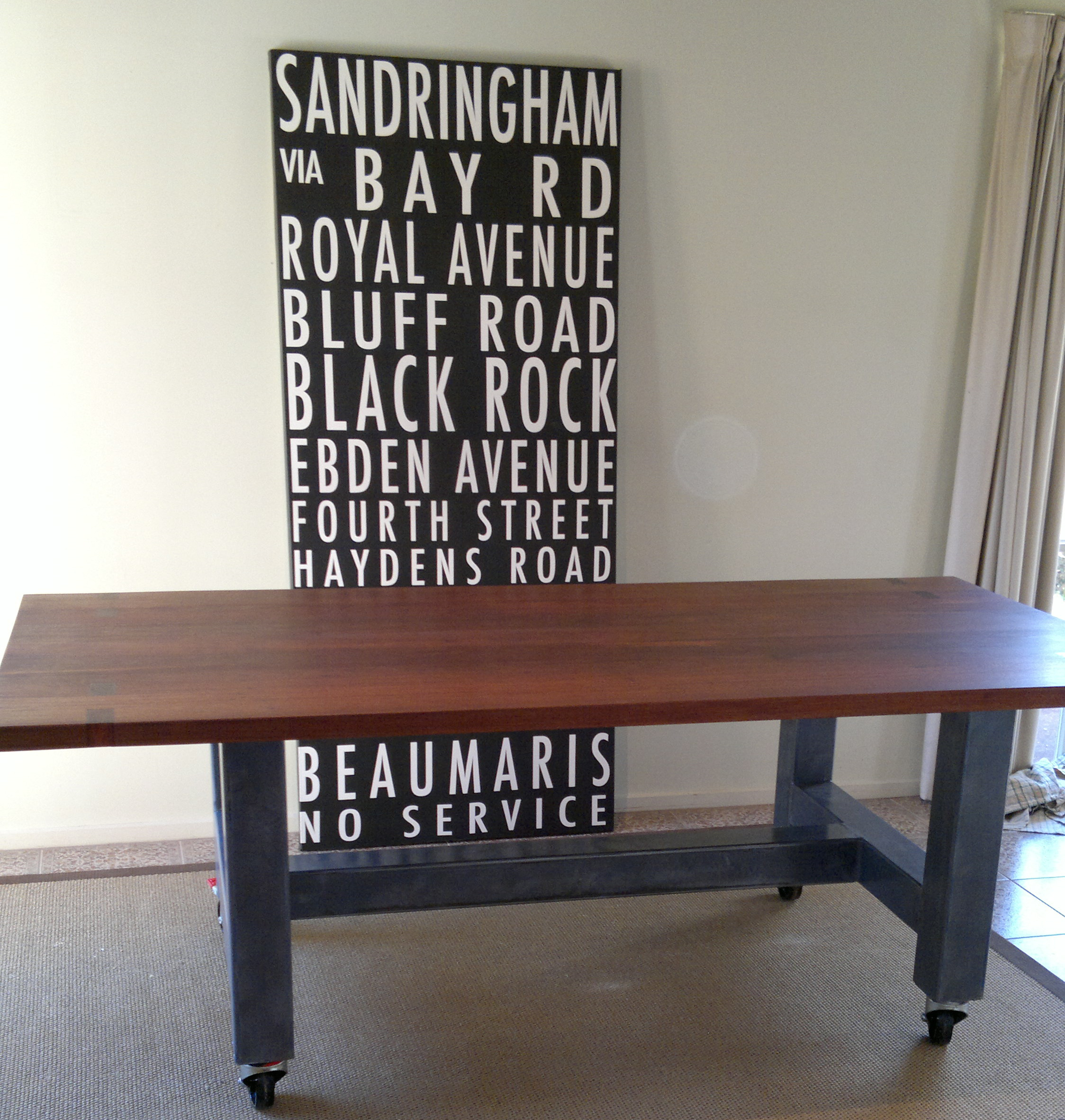 Industrial Style Dining Table Box Metal Frame Remodelled From Existing Iron Bark Top