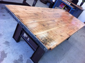 Oregon #5 Table with Industrial Metal Base