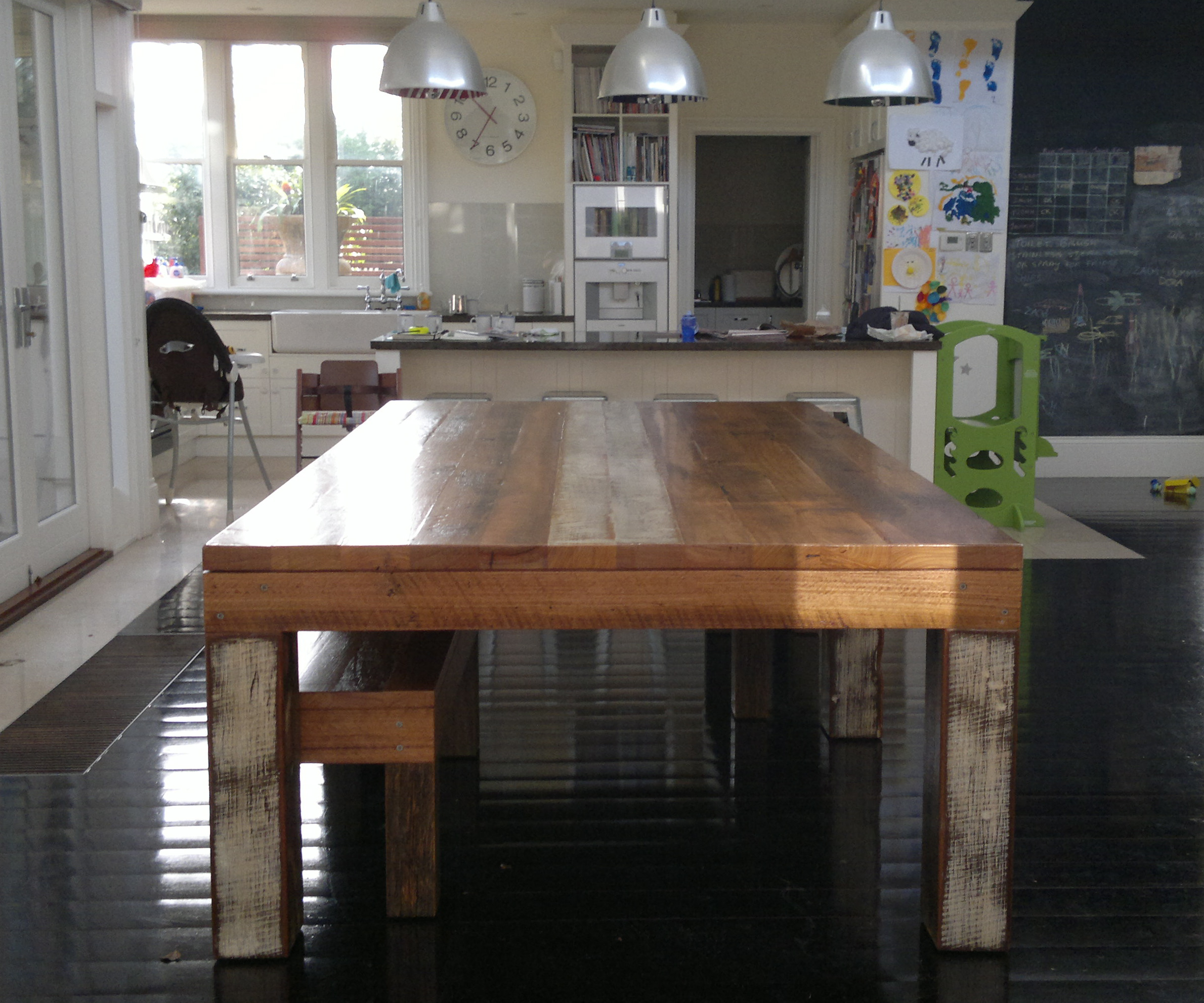 semi industrial rustic dining table 12 14 seater recycled lane