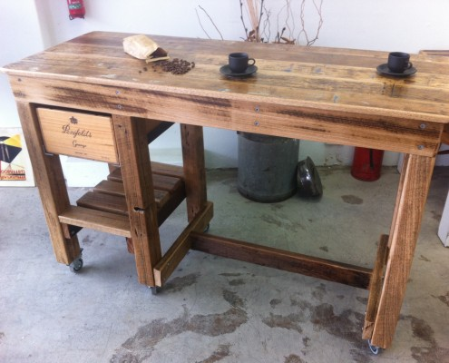 Workbench Style Breakfast Bar With Wine Box Drawer