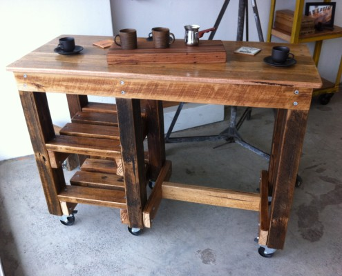Workbench Style Breakfast Bar/Workstation with 2 Shelves & Castors