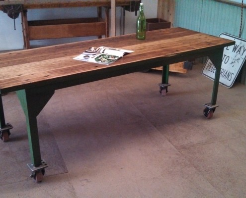 Reclaimed Green Industrial Dining Table with Castors