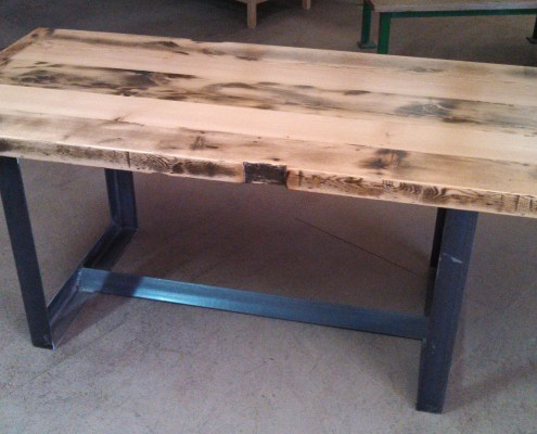 Aged Oregon Table Top With Angle Iron Box Ends
