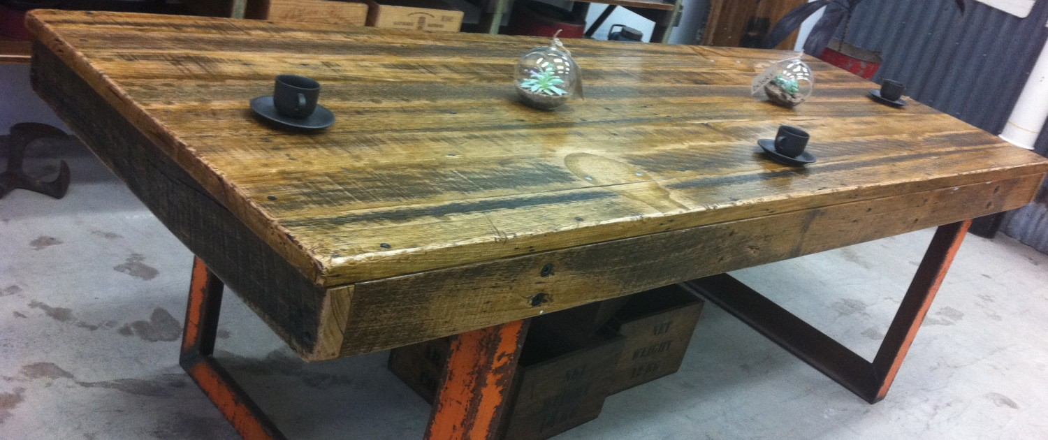 Workbench Style Communal Table with Recycled Hardwood Top & Recycled Metal