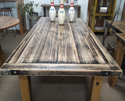 Reclaimed Northcote Bowling Alley Dining Table Top with Tallow Wood Box Ends