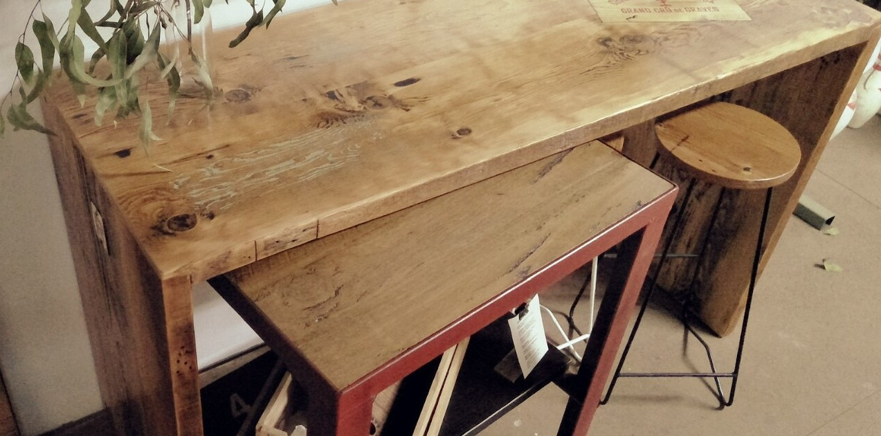 Le Chateau Aged Oregon Island Bench with the #4 Recycled Blackbutt Workstation/Butchers Block on Castors