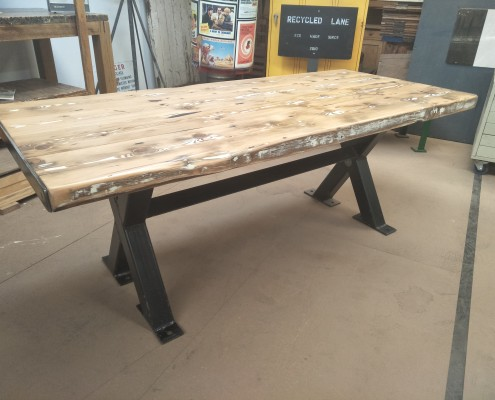 Black Metal X Frame Table with Recycled Oregon Top