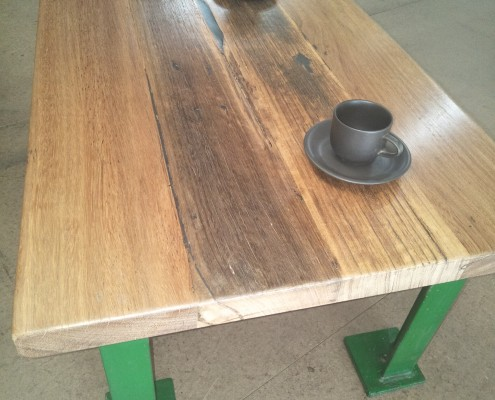 Coffee Table - Industrial Green Metal Frame with Mixed Hardwood Top