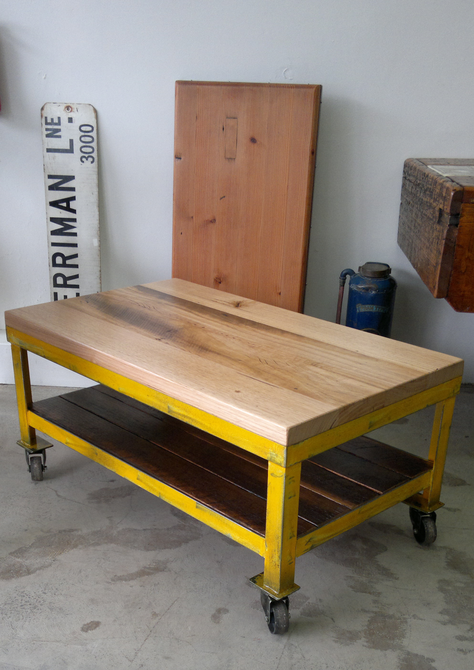 Industrial Yellow Metal Coffee Table