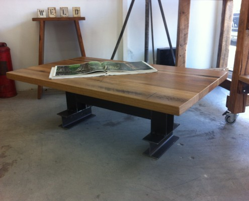 Hardwood Coffee Table with I-Beam Base