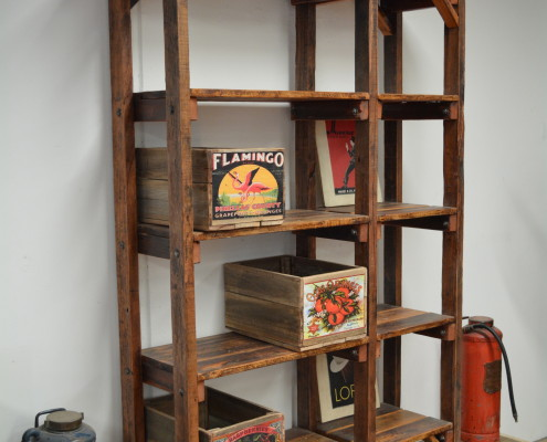 Rustic Style Hardwood SHelving Unit - 6 Legged
