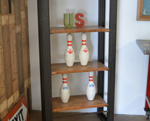 Metal Shelving Unit with Aged Cheese Board Shelves