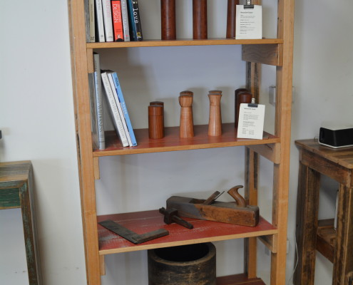Shelving Unit with Red Shelves