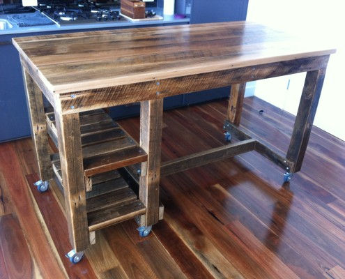 Bespoke Workbench Style Breakfast Bar - With Messmate Top & Twin Shelves