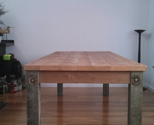 Bespoke Dining Table - Client's Own Salvaged Oregon with Our Hardwood Legs