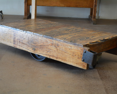 Reclaimed Coffee Table Trolley / Cart with Original Castors & Steering Stick