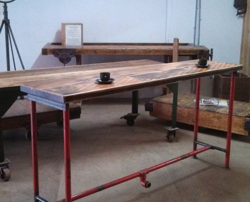 Cafe Style Bench - Reclaimed Aged Oregon & Salvaged Fire Station Piping