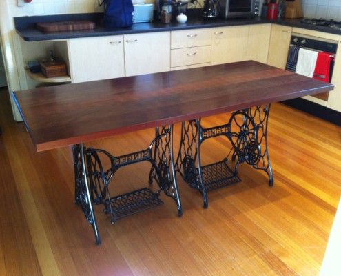 Jarrah Table Top with Antique Sewing Bases