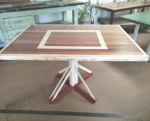 Basketball Backboard Table with Salvaged Metal Frame