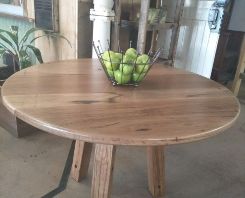 Round Table with Tripod Base - Recycled Blackbutt & Tallow Wood