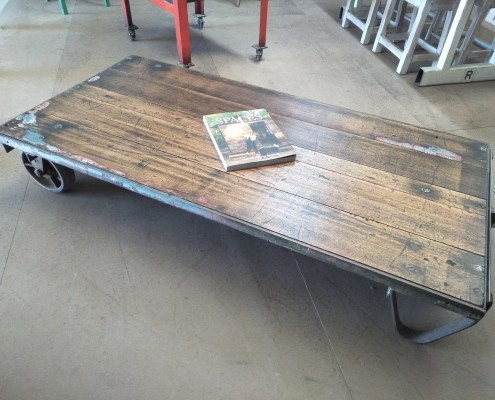 Industrial Trolley Coffee Table with Recycled Hardwood Top