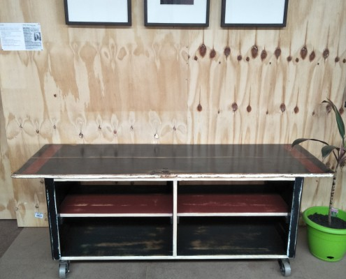 Entertainment Unit - Recycled Door, Remodelled Buffet on Metal Castors