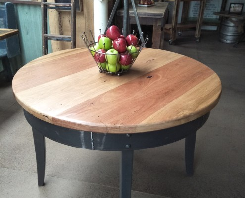 Recycled Hardwood Round Table with Metal Frame