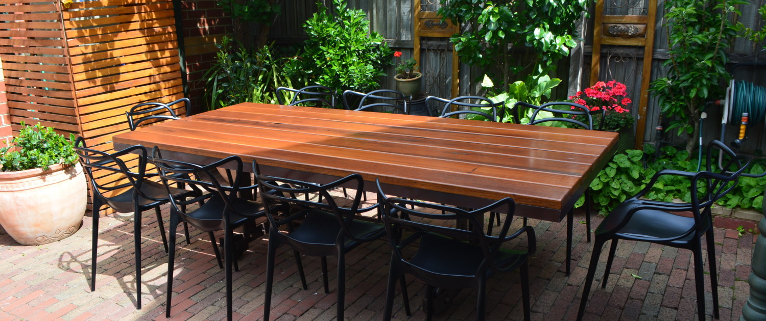 The Industrial Blackbutt Dining Table View 2
