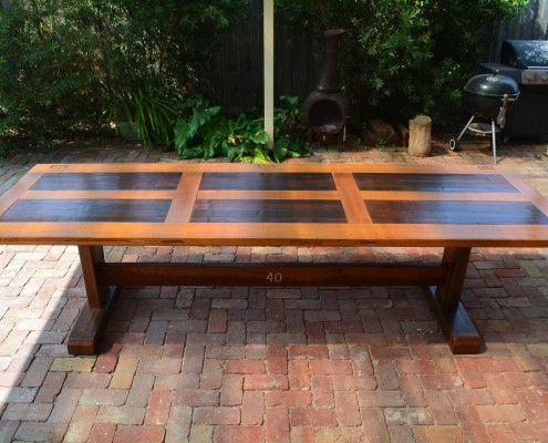 Bespoke Outdoor Pedestal Table with Recycled Hardwoods & Salvaged Chapel Door