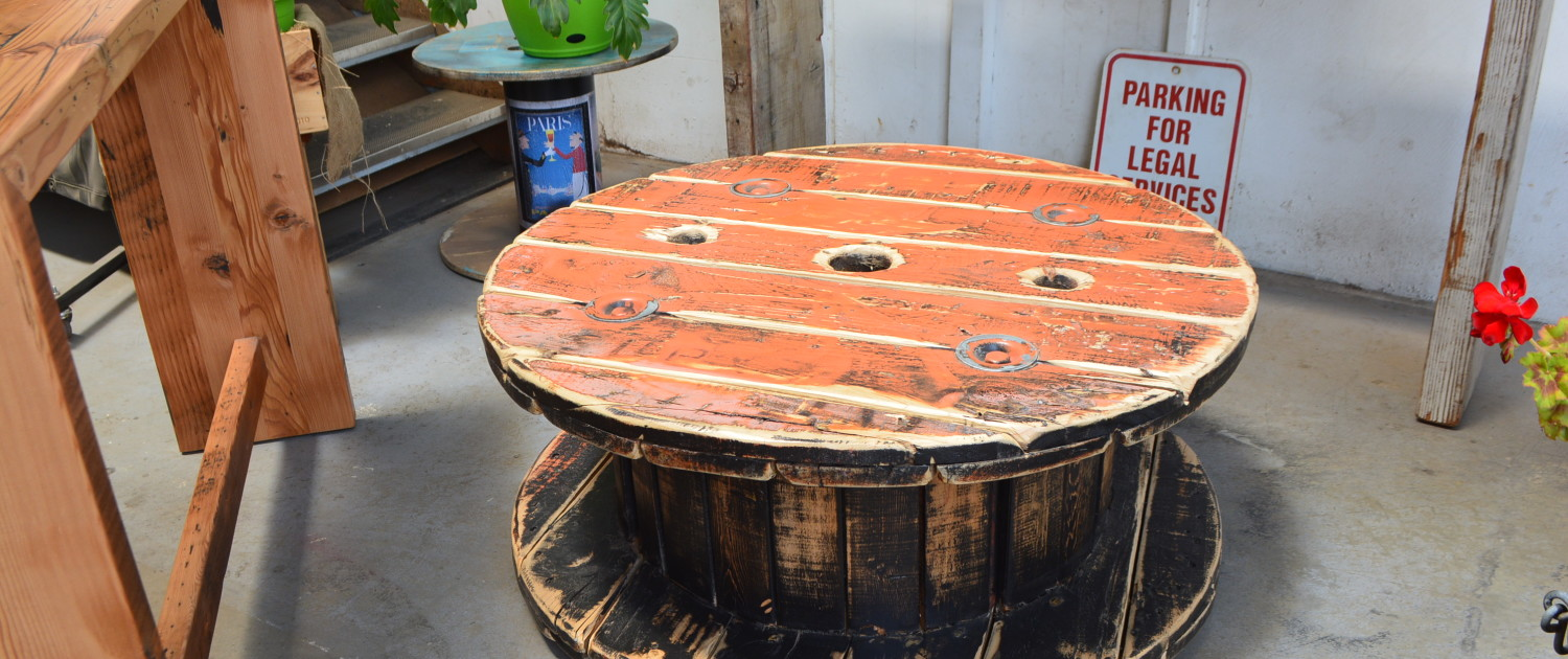 Orange Cable Drum Coffee Table