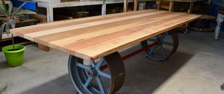 Original Cast Iron Flat Belt Pulleys with Recycled Hardwood Top